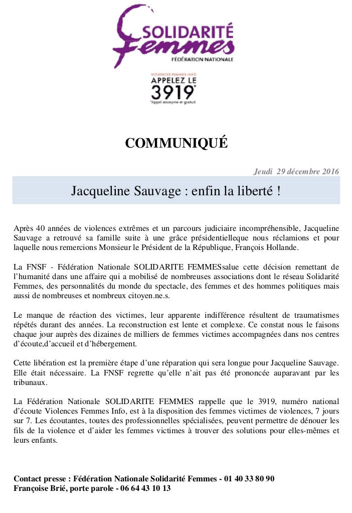 CP FNSF libération J Sauvage 12 2016
